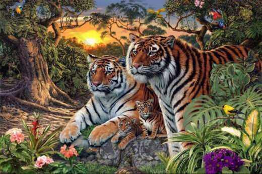znajdź wszystkie głowy tygrysów - zagadka. policz wszystkie.