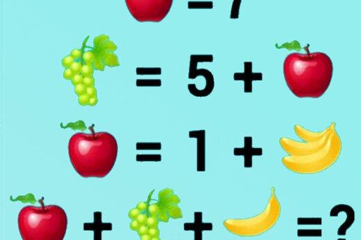 zagadka owocowa 12, układ równań – zagadka, łamigłówka, zagadka, równania