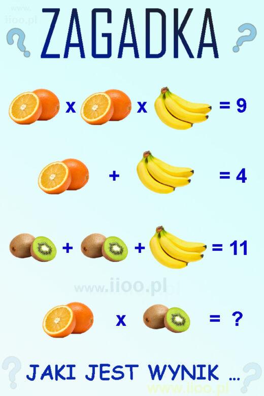 zagadka owocowa 5, układ równań - zagadka
