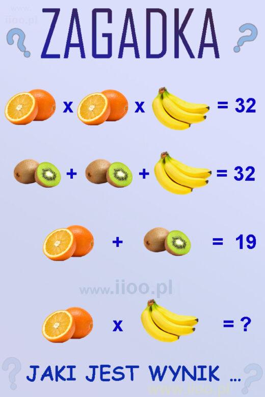zagadka owocowa 6, układ równań - zagadka, łamigłówka, zagadka, równania Polecamy też inne nasze ciekawe zagadki logiczne z równaniami oraz inne :)