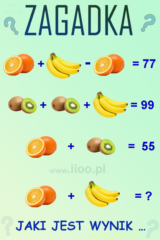 zagadka owocowa 7, układ równań, zagadka logiczna