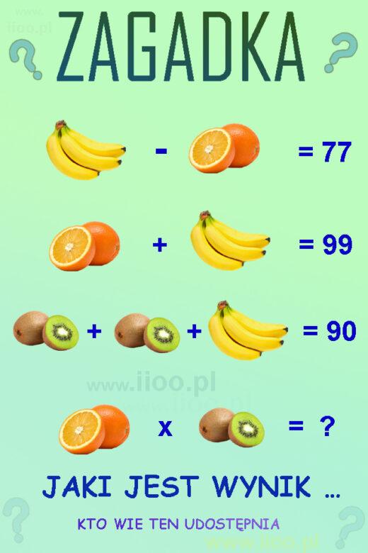 Owocowa zagadka logiczna 9. Zagadka z równaniami. Ciekawa zagadka.