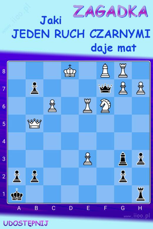 jednochodówka, zagadka szachowa, zagadka logiczna, ciekawa zagadka na logikę, jaki ruch daje mat Koniecznie sprawdź inne zagadki szachowe - w naszym dziale z zagadkami;