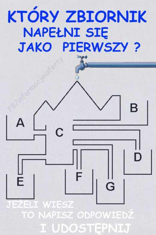 Zagadka – zbiornik e2 Czy wiesz który zbiornik wypełni się jako pierwszy? A,B,C,D,E,F,G ? Pamiętaj o zasadzie naczyń połączonych. Zagadka zbiornik Sprawdź też inne nasze zagadki ze zbiornikami, ale nie tylkohttp://www.iioo.pl
